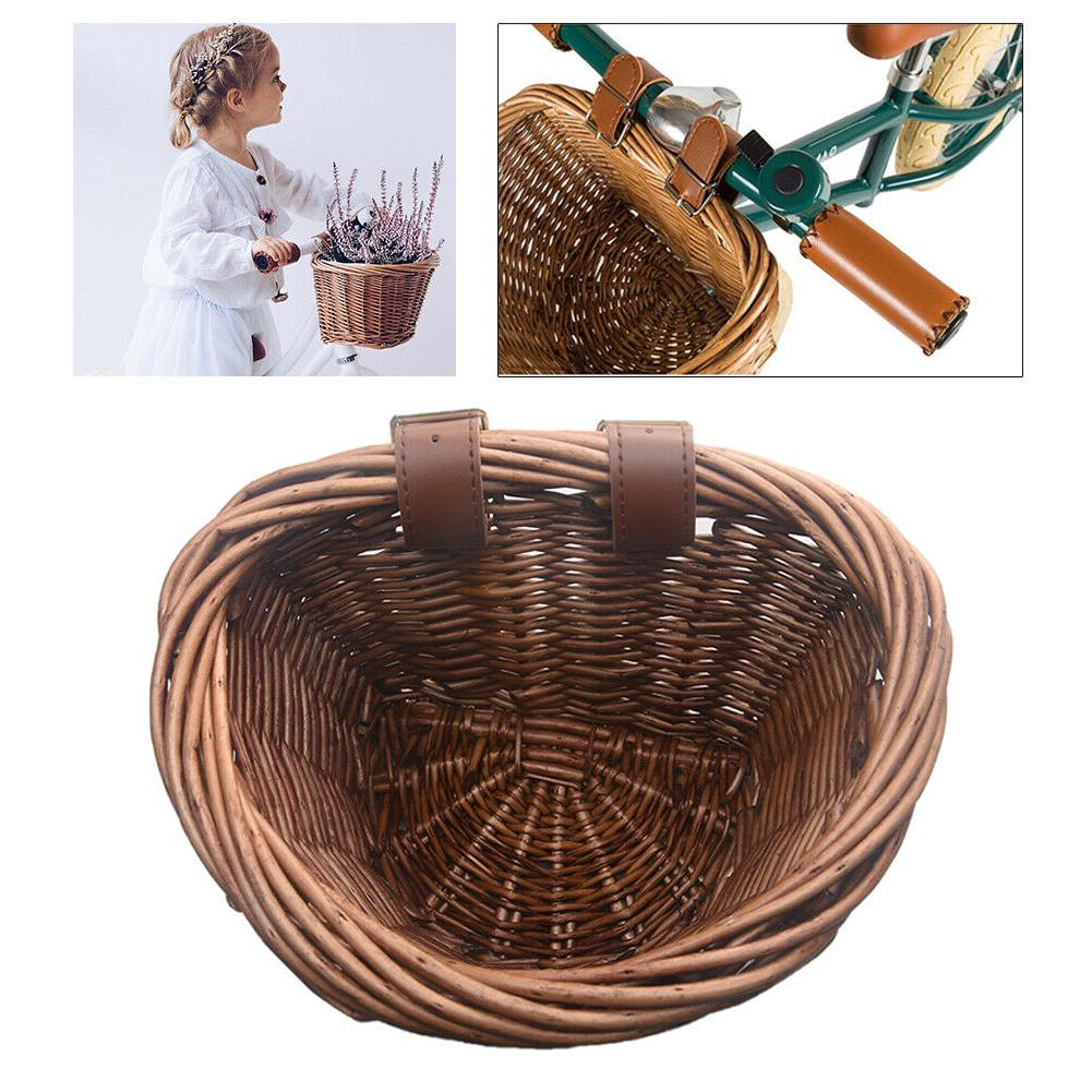 Hand-made Wicker Basket Multi-function Children Bicycle Shop