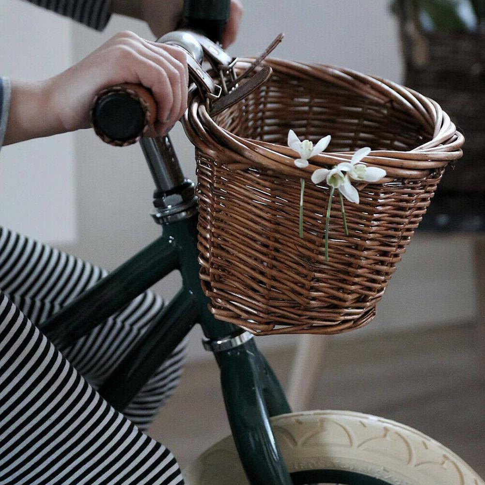 Hand-made Kids Childs Wicker Basket Handlebar