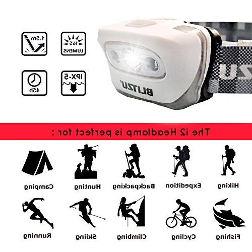 BLITZU Flashlight 165 Headlight Bright + Red Light for Kids, Batteries Included for Running, Camping, Waterproof Adjustable Headband WHITE