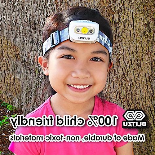 BLITZU Head Flashlight 165 Lumen Bright White Cree Led + for Kids, Batteries Camping, WHITE