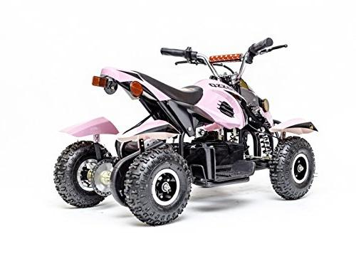 Rosso Kids Quad 4 Wheeler Ride On 36V Battery Lights in for Girls, System Child