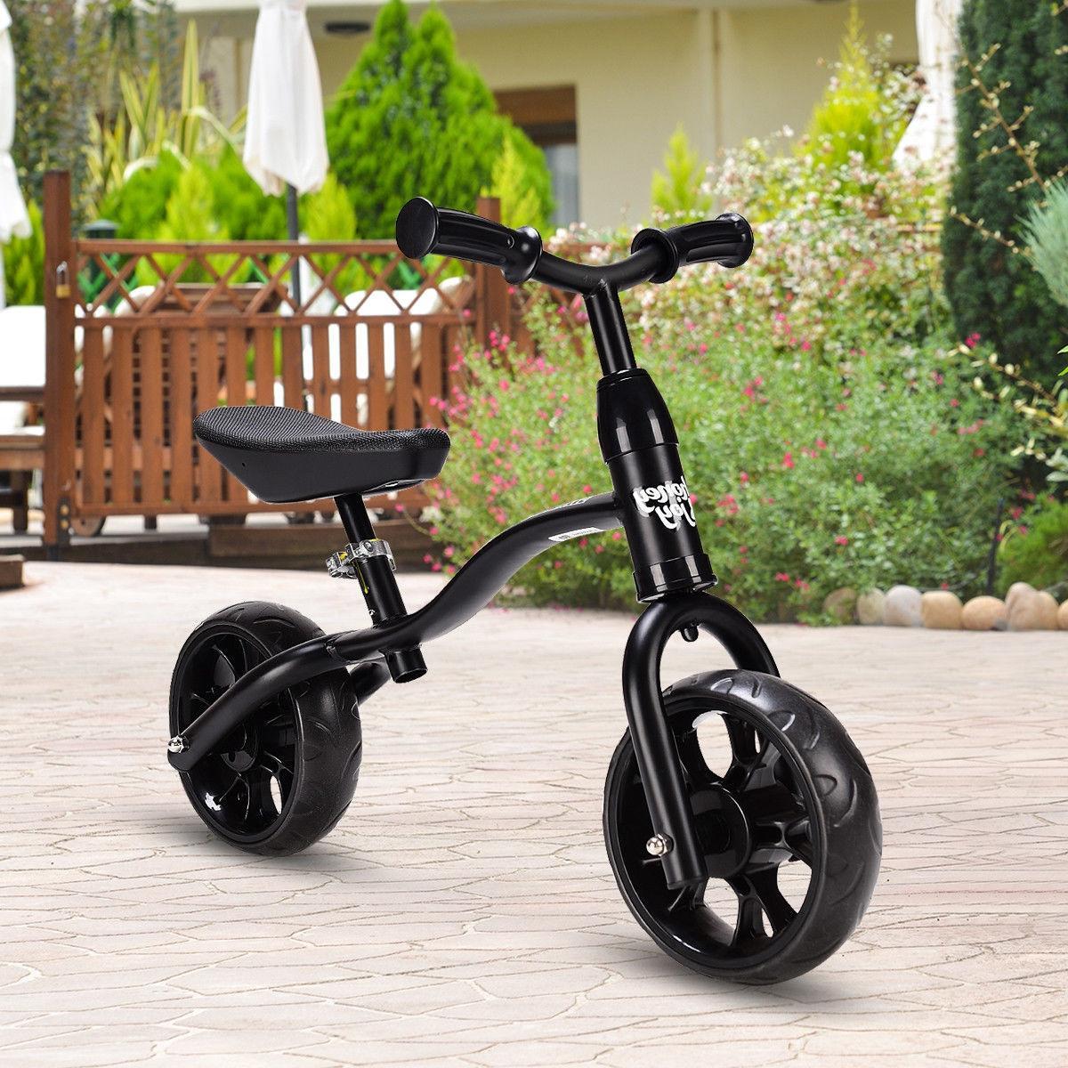 Kids Balance No-Pedal Child Training Bicycle w/ Adjustable Seat Black
