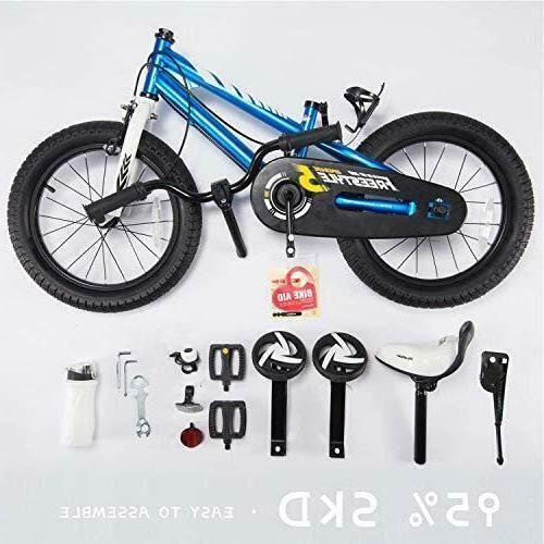 RoyalBaby Kids Bike Girls Freestyle BMX with Training Blue