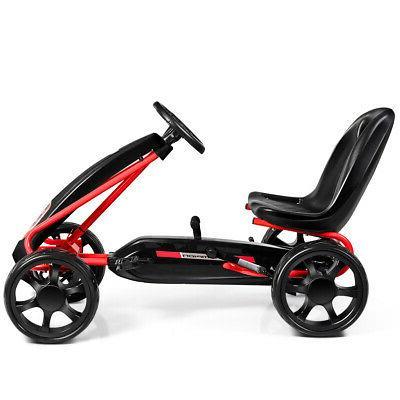 Pedal Go Kart Kids Bike Ride on Toys 4 Wheels and Adjustable Black
