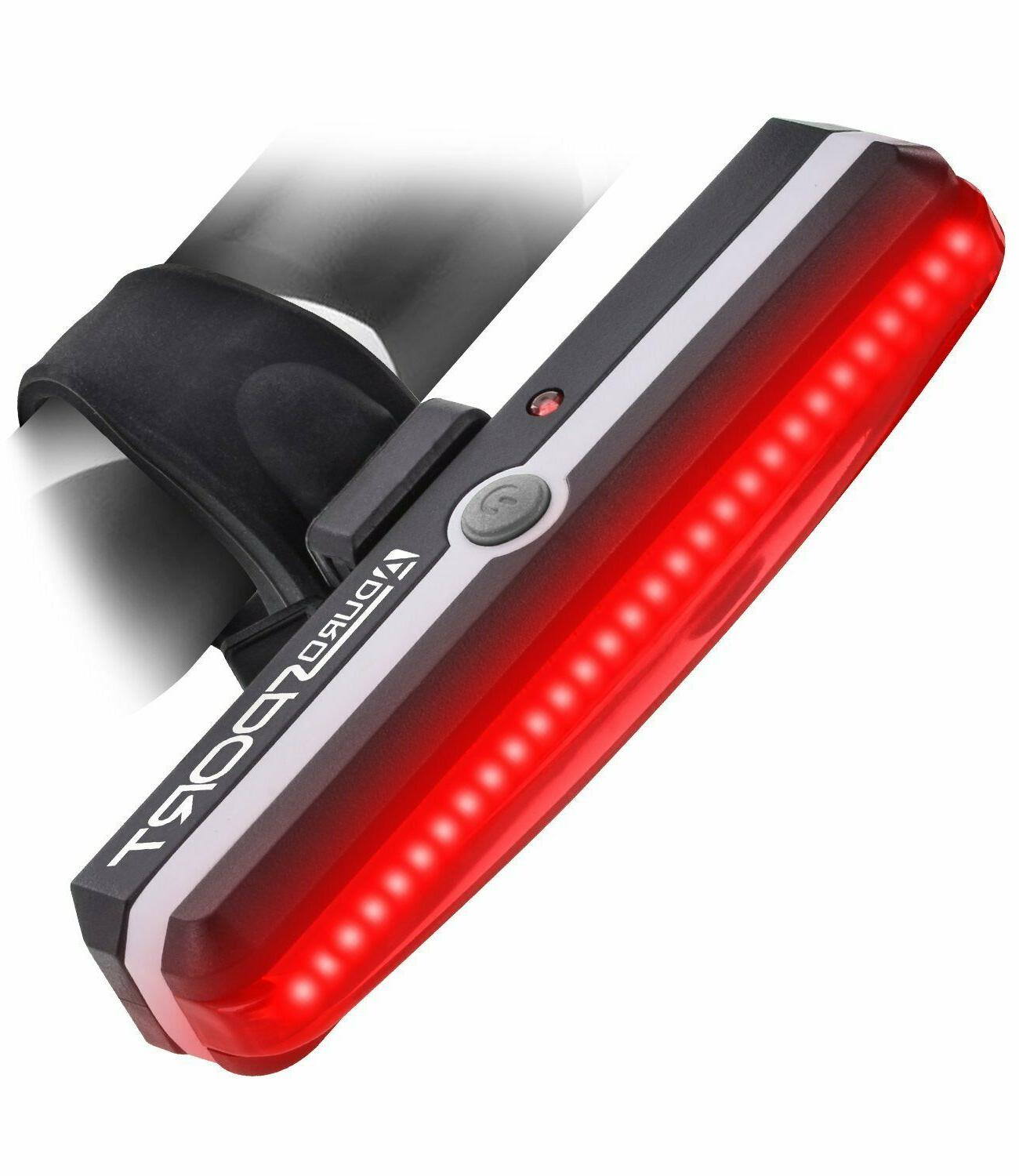 One Touch Mount and Dismount IPX4 Waterproof Ultra Bright Powerful Safety Taillight for all Bikes Aduro Sport LED Rear Bike Light USB Rechargeable 6 Light Mode Options