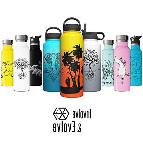 Vacuum with Straw Sports Double Walled Steel Metal Thermos Friendly Non Sweat 20oz Thermos Bike BPA