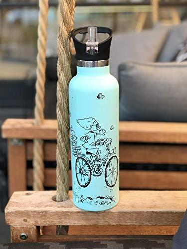 Vacuum Insulated Water Bottle with Straw Sports Cap Double Stainless Steel Metal Thermos Non Sweat Durable 20oz Thermos Kids Bike BPA Free