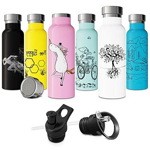 Vacuum with Straw Sports Cap Double Walled Metal Thermos Non Finish 20oz Thermos for Bike Free