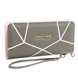 Lady Long Zip Wallet Geometric Pattern Mobile Phone Bag Larg