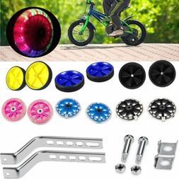 LED Universal Adjustable Kids Bicycle Bike Training Wheels F