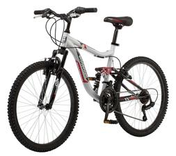 "24"" Mongoose Ledge 2.1 Boys' Mountain Bike, Silver/Red"