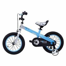 "RoyalBaby CubeTube Matte Buttons 12"" Bicycle for Kids, Blue"