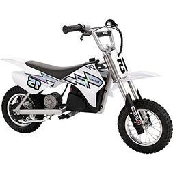 Razor MX400 Dirt Rocket Electric Moto Bike, White + Helmet +