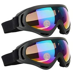 COOLOO Ski Goggles, Pack of 2, Skate Glasses for Kids, Boys
