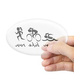 CafePress Swim Bike Run  Sticker Oval Bumper Sticker, Euro O
