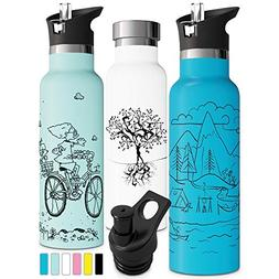 Vacuum Insulated Water Bottle with Straw Sports Cap Double W