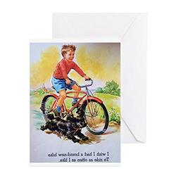 CafePress - Vintage Bike Boy - Greeting Card, Note Card, Bir